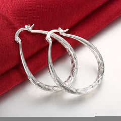 Fish Belly Stripe Silver Hoop Earring