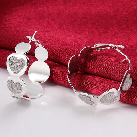 Sandy Heart Hoop Earrings