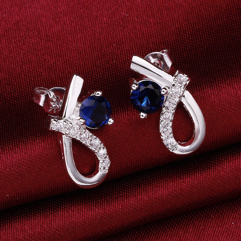 Blue Gem Twist Silver Earring
