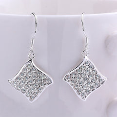 Square Drop Silver Earrings