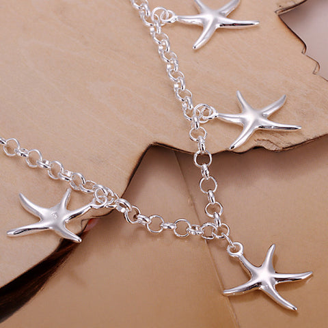 Five Starfish Silver Bracelet