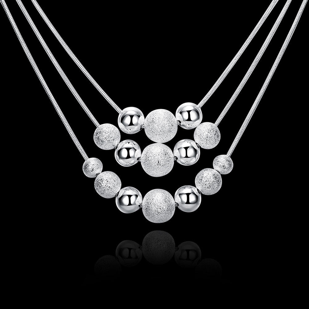 Three Lines Multi-Beads Silver Necklace
