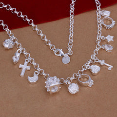 Charm Hanging Silver Necklace