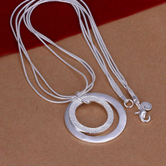 Two Circles  Silver Necklace