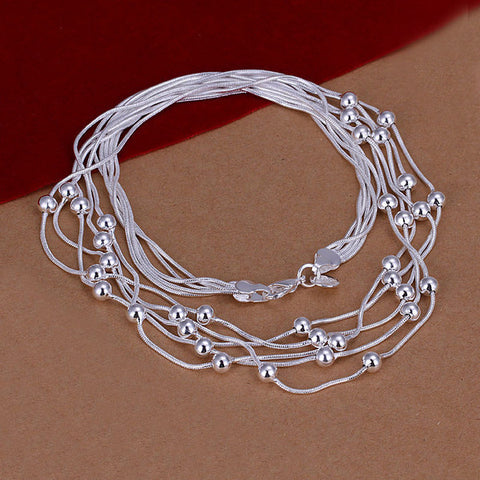 Five Lines Polished Beads Silver Necklace