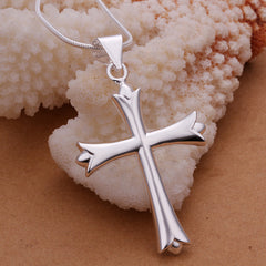 Silver Tulip Cross Necklace