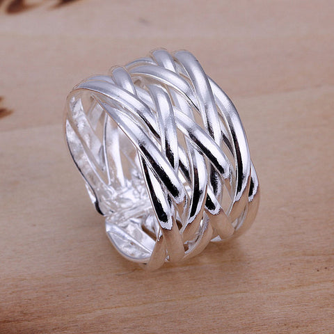 Light Smooth Weave Open Silver Ring
