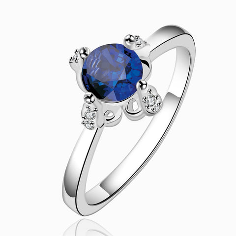 Blue Cubic Zirconia Flower Engagement Ring