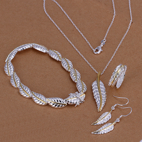 Feathers Four-piece Sterling Silver Jewelry Set