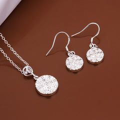 Simple Circle Two-piece Sterling Silver Jewelry Set