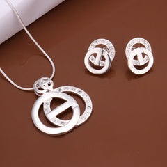 Circle Overlay Two-piece Sterling Silver Jewelry Set