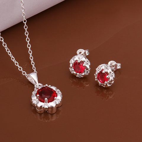 Red Flower Two-piece Sterling Silver Jewelry Set