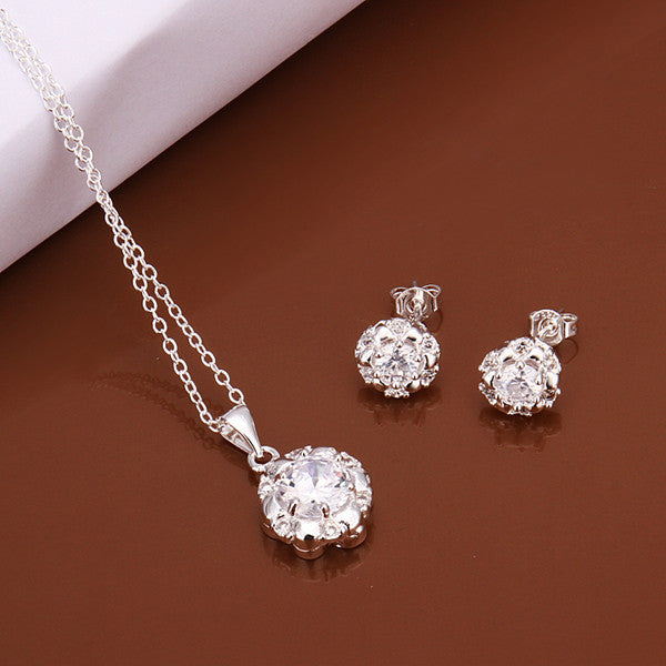 Shining  Flower Two-piece Sterling Silver Jewelry Set