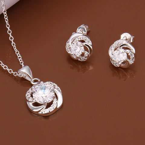 Swirl Two-piece Sterling Silver Jewelry Set