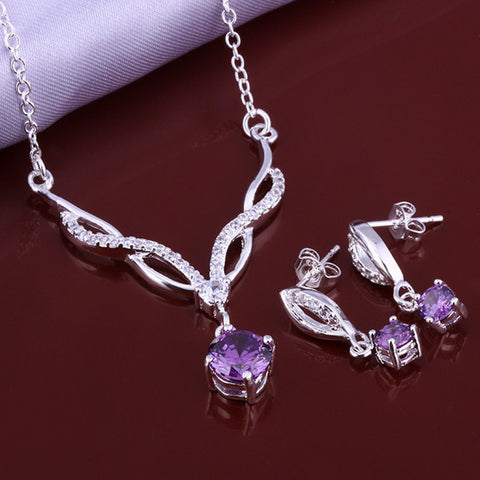 Twist Purple Hang Two-piece Sterling Silver Jewelry Set