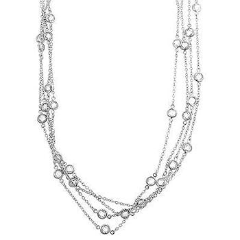 Layered Bezel Rhodium Plated Finish Necklace