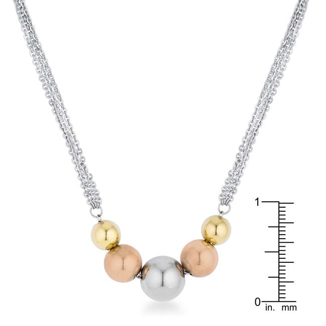Bella Tri-Tone Stainless Steel Layered Ball Statement Necklace