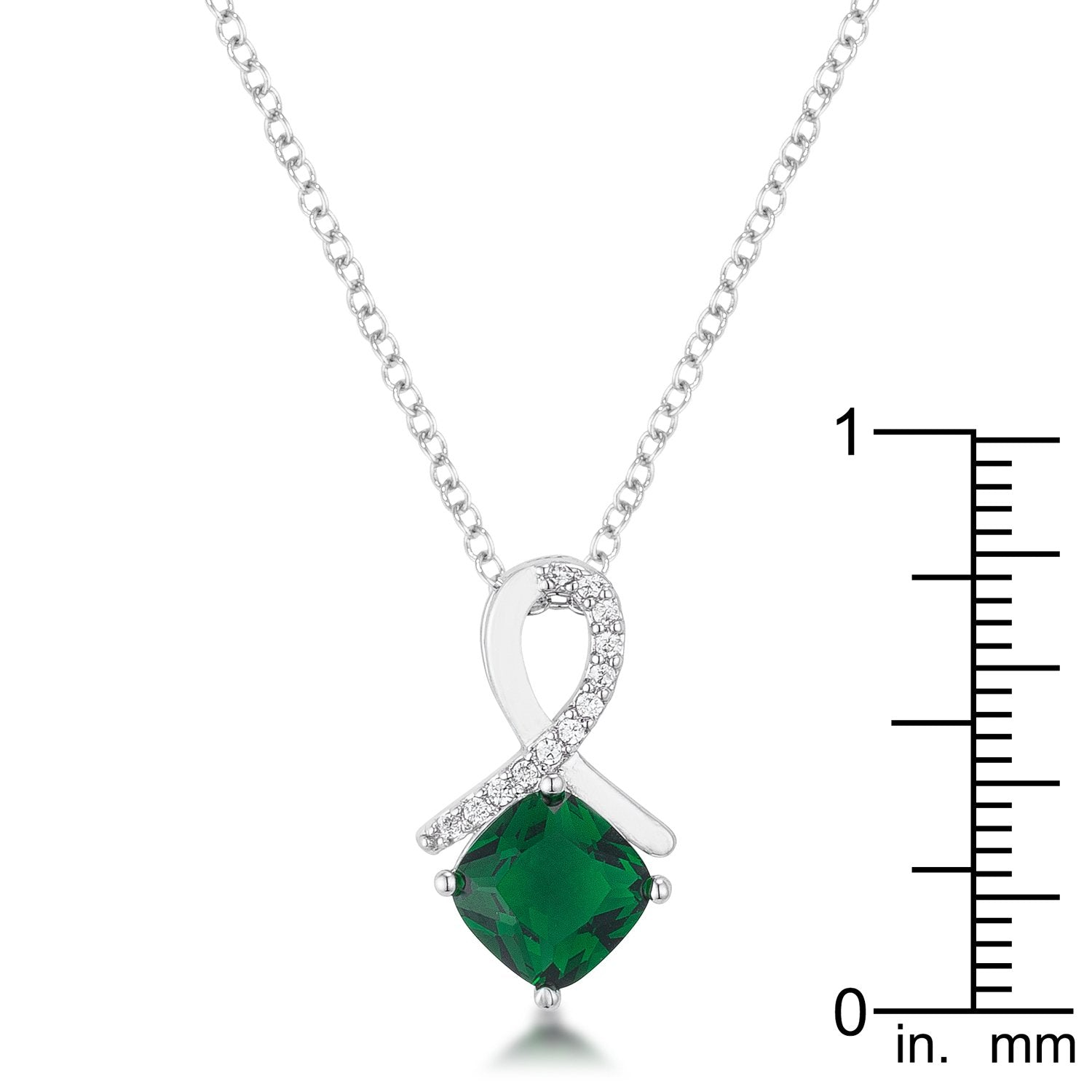 8mm Cushion Cut Cubic Zirconia Emerald Fashion Pendant