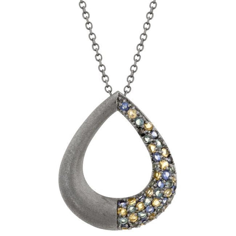 Black Rhodium Teardrop Pendant