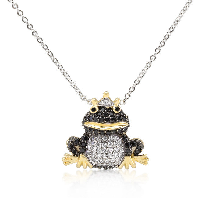 Cubic Zirconia Frog Prince Pendant Necklace