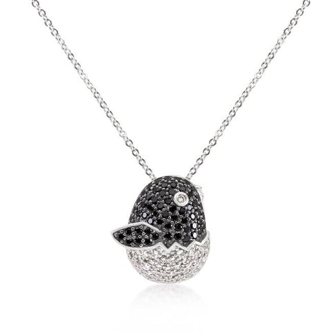 Black and White Cubic Zirconia Baby Bird Pendant