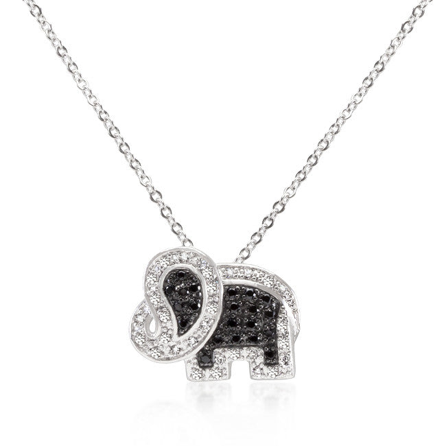 Black and White Cubic Zirconia Elephant Pendant