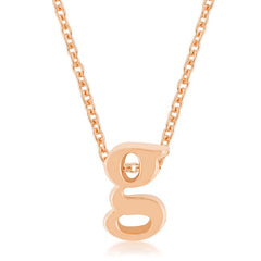 Rose Gold Finish Initial G Pendant