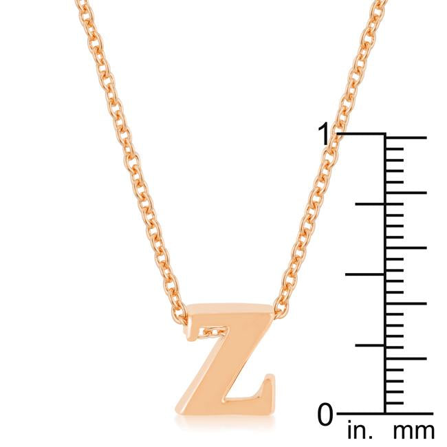 Rose Gold Finish Initial Z Pendant