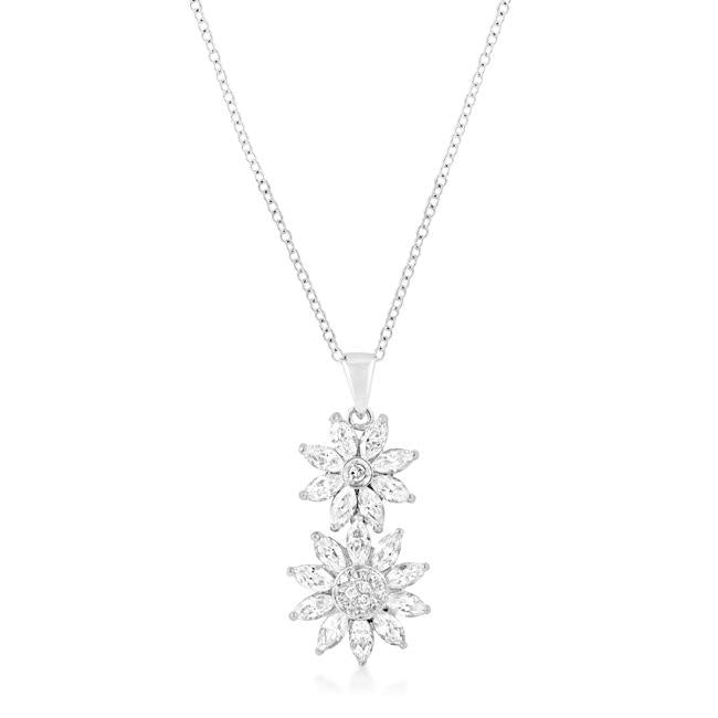 Rhodium Plated Dual Floral Pendant