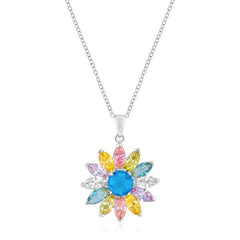 Rhodium Plated Colorful Flower Pendant