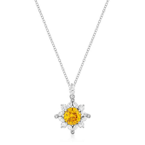 Classic Sun Pendant in Rhodium Plated