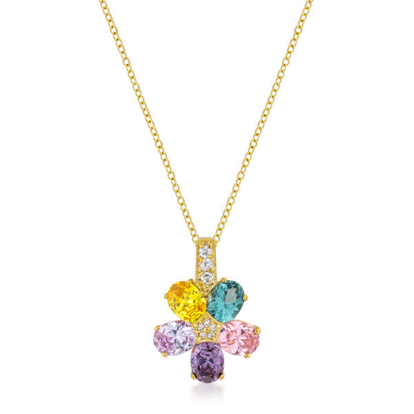 Multi-color Floral Pendant in Goldtone