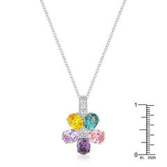 Multi-color Floral Pendant in Rhodium Plated