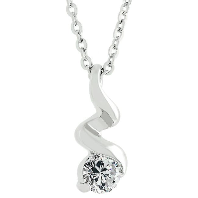 Rhodium Plated Finish Twist Pendant