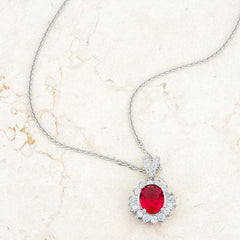 Chrisalee 3.2ct Ruby CZ Rhodium Classic Drop Necklace