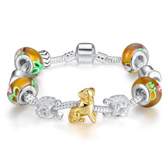 Golden Puppy Silver Plated Charm Bracelet