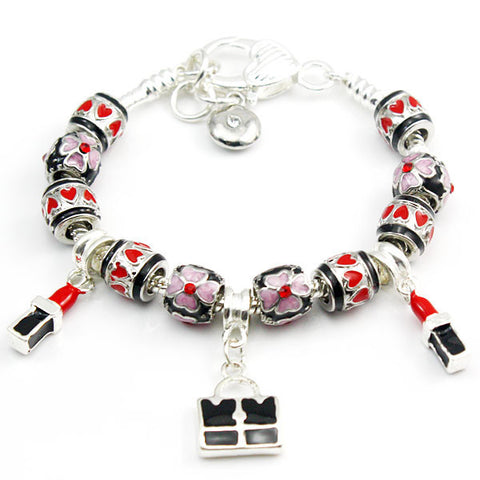 Black and Red Shopping Bag Charm Bracelet