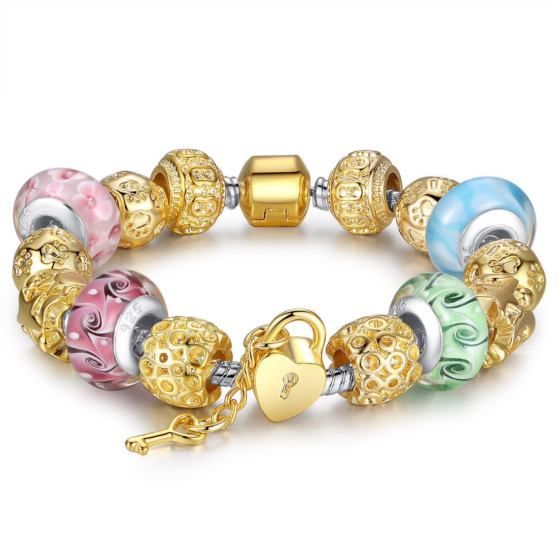 Christmas Gold Heart Charm Bracelet