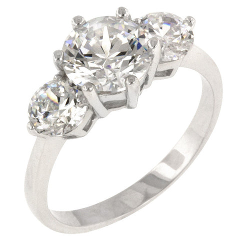 Classic Clear Triplet Engagement Ring