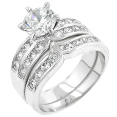 Formal Rhodium Plated Engagement Set