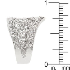 Cubic Zirconia Filigree Hearts Ring