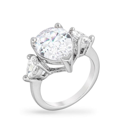 Cubic Zirconia Pear Triplet Ring