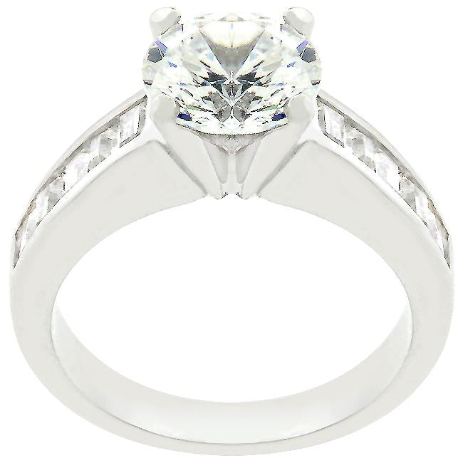 Classic Rhodium Plated Engagement Ring