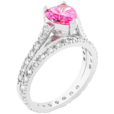 Pink Heart Cubic Zirconia Ring Set