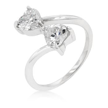 Rhodium Plated Finish Dual Hearts Anniversary Ring