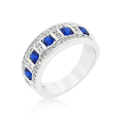Blue and Clear Encrusted Rhodium Plated Ring
