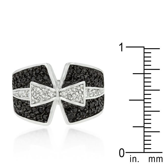 Jet Black and Clear Cubic Zirconia Bow Tie Ring