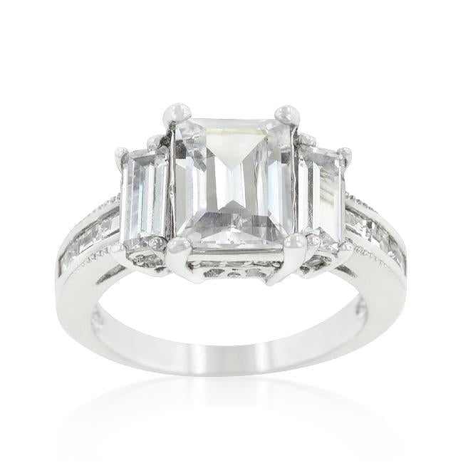 Emerald Cut Triplet Engagement Ring