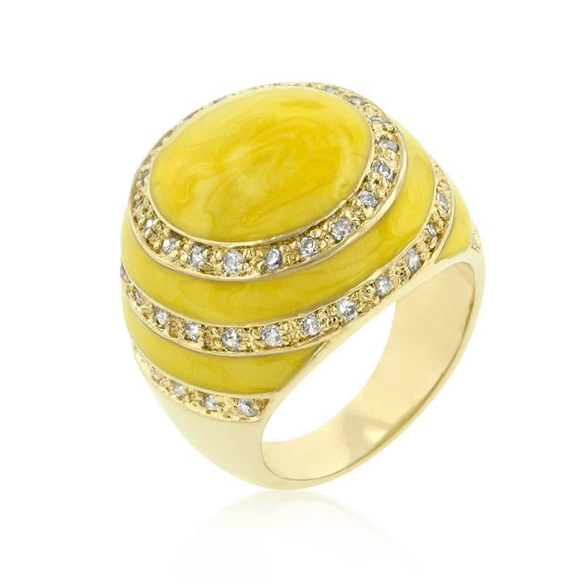 Yellow Enamel Egg Ring