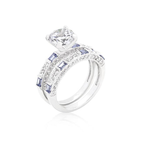 Clear and Tanzanite Cubic Zirconia Ring Set